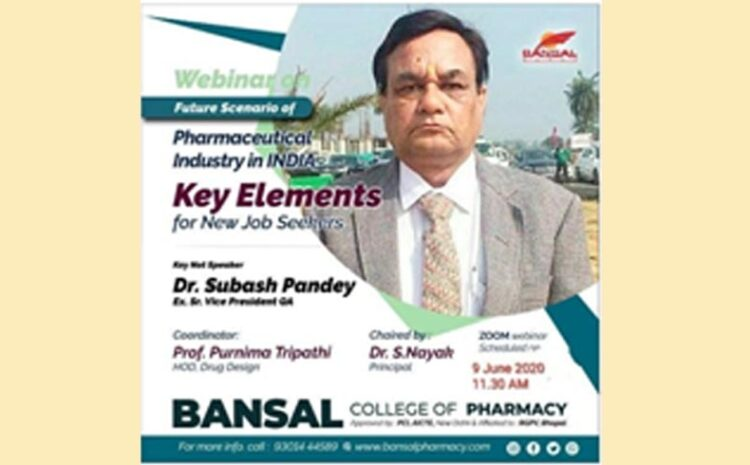 "Webinar On ""Future Scenario of Pharmaceutical Industry in India"""
