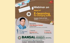 """Webinar – Topic """"Need of E- Learning for Changing World"""""""