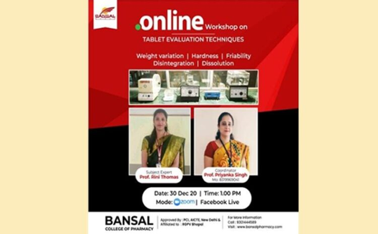 Online Workshop on Tablet Evaluation Techniques