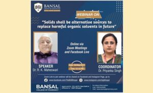 """Webinar on """"Solids Shallbe Alternative Source to Replace HarmfulOrganic Solvents in Future"""""""