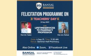 Felicitation Programme on Teacher's Day For Lifetimes Services to Pharmacy Profession